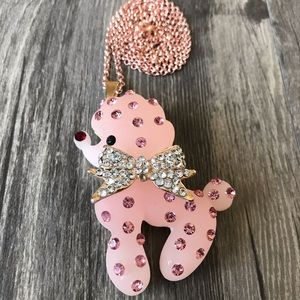 Pink Resin Crystal Poodle Puppy Pendant